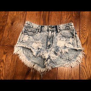 High rise denim Americana shorts